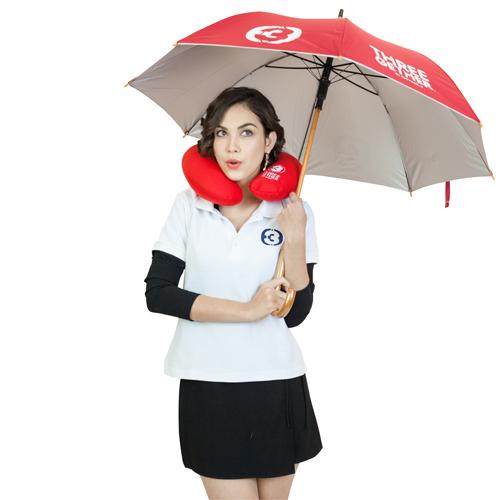 Umbrella Long (Red) <br />ร่มยาว 24 นิ้วพร้อมซองเก็บสีแดง