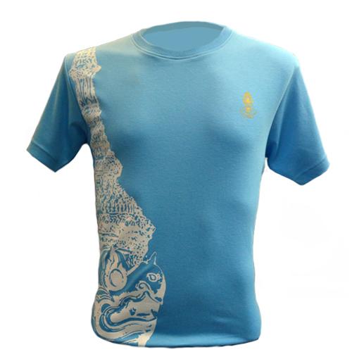 The King of Garuda เสื้อคอกลมลายหัวครุฑสีฟ้า