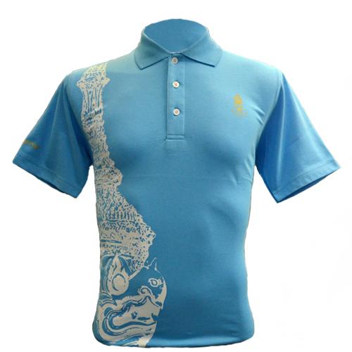 The King of Garuda เสื้อโปโลลายหัวครุฑสีฟ้า