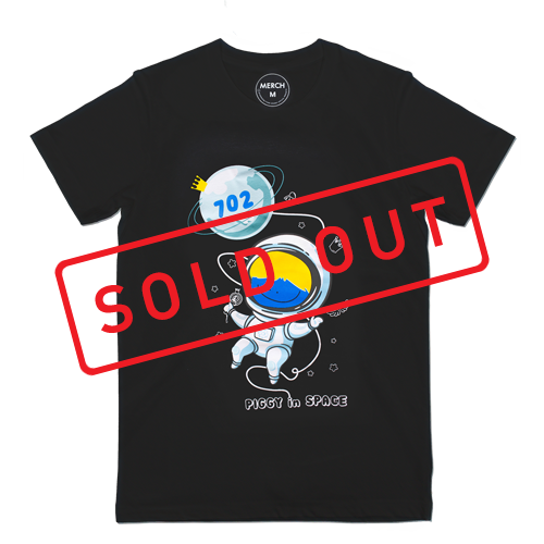 T-shirt : PIGGY IN SPACE V.2 _BLACK