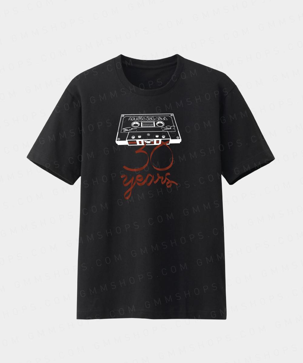 เสื้อสีดำอัสนี-วสันต์ 30 ปี ลายโลโก้เทป