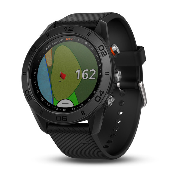 Garmin Approach S60 Black GPS golf watch with black silicone band