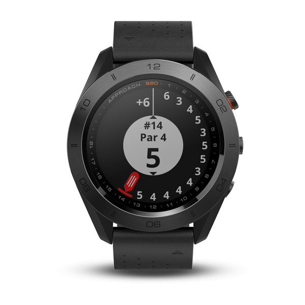 Garmin Approach S60 Premium GPS golf watch with black leather band