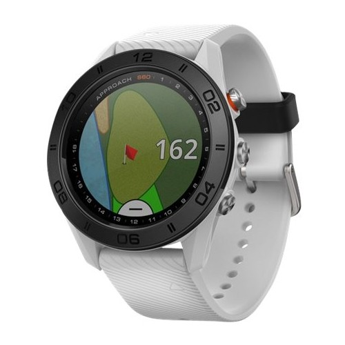 Garmin Approach S60 White GPS golf watch with white silicone band