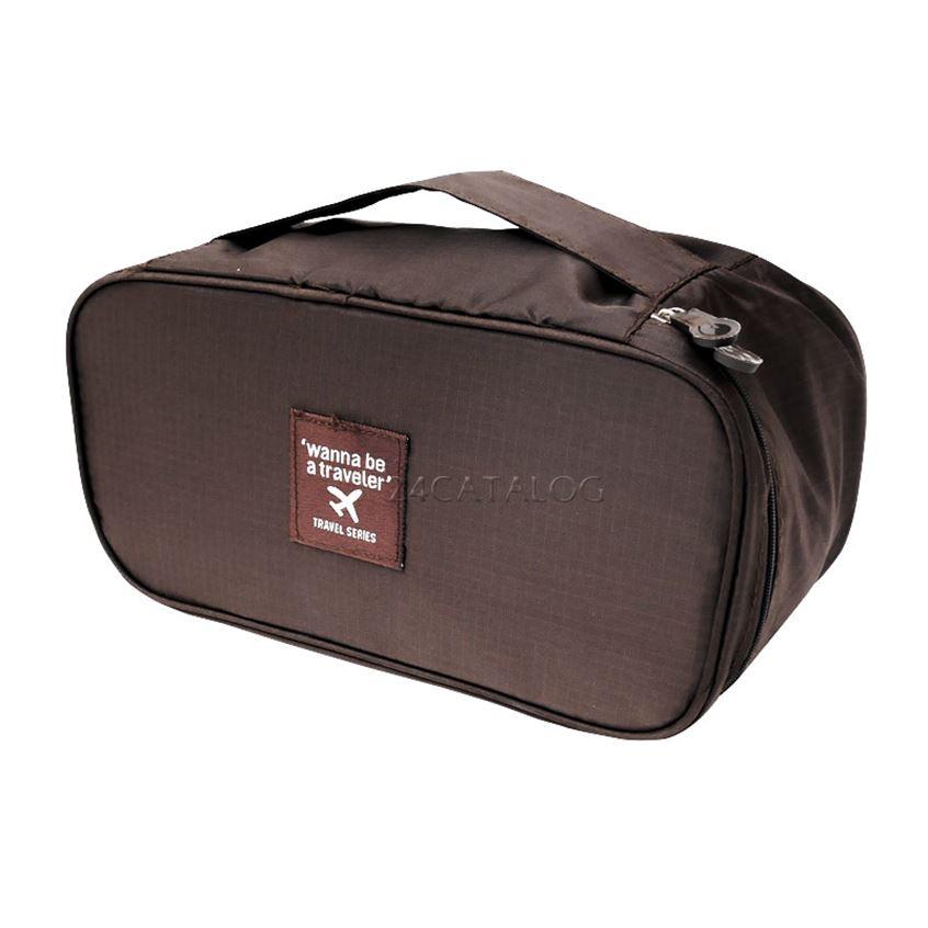 กระเป๋าเก็บชุดชั้นใน สีน้ำตาล