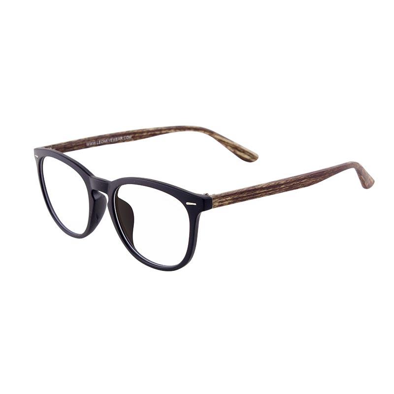 Leon แว่นกรองแสงรุ่น2056 กรอบสีดำ-ขาสีลายไม้