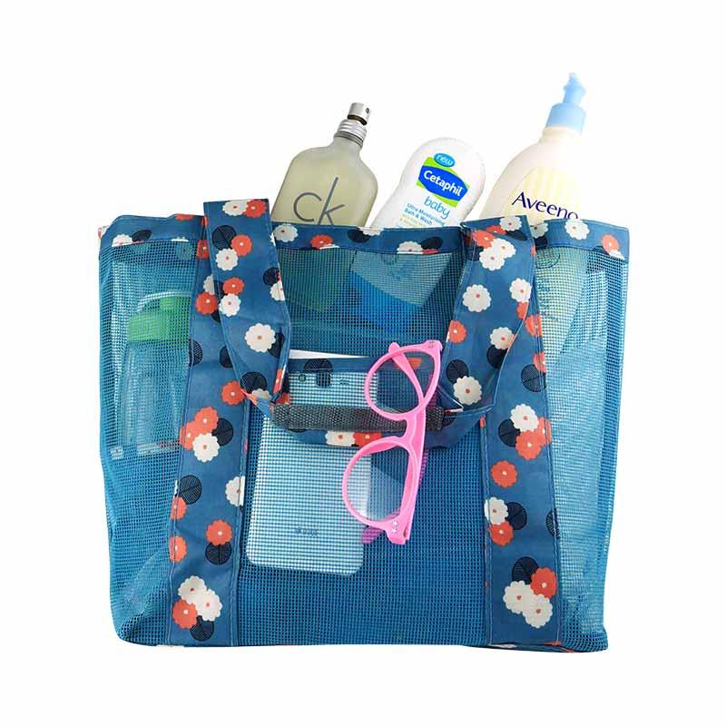 กระเป๋าถือพกพา สีน้ำเงินลายดอกไม้