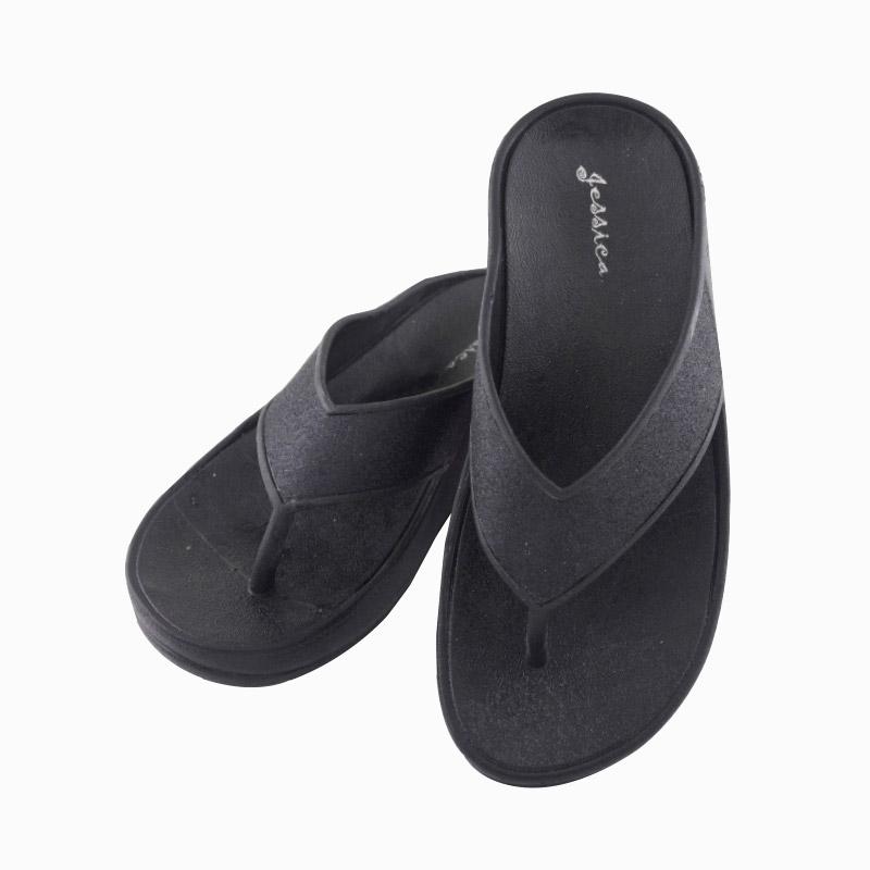 รองเท้าแตะส้นสูงหูหนีบ สีดำ ไซส์ 38