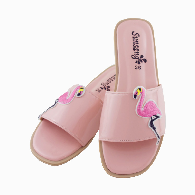 รองเท้าแตะลายฟลามิงโก้ สีชมพู ไซส์ 38