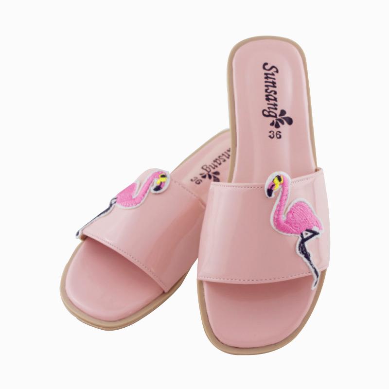 รองเท้าแตะลายฟลามิงโก้ สีชมพู ไซส์ 36