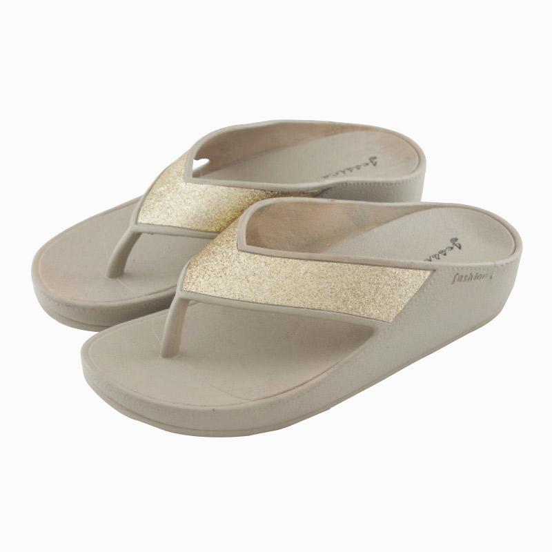 รองเท้าแตะส้นสูงหูหนีบ สีทอง ไซส์ 37