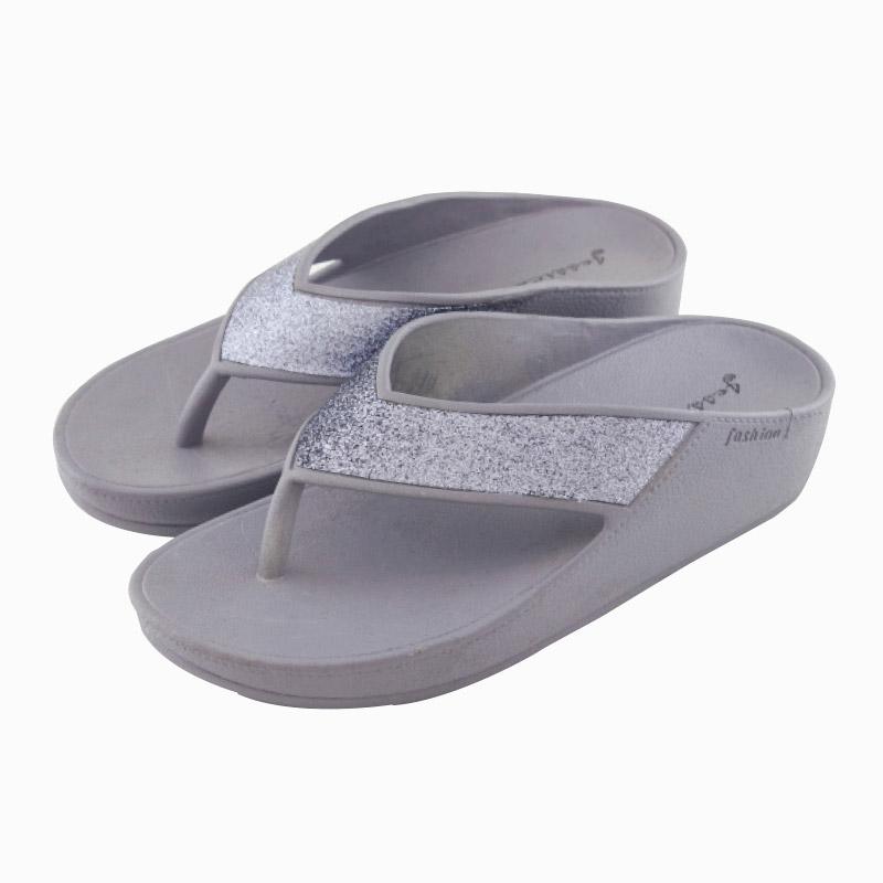 รองเท้าแตะส้นสูงหูหนีบ สีเงิน ไซส์ 38