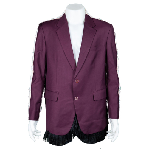 Ben Chalatit Maroon suit with white lace