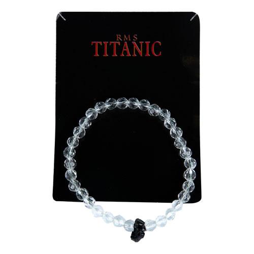 Stretch glass bead bracelet with coal