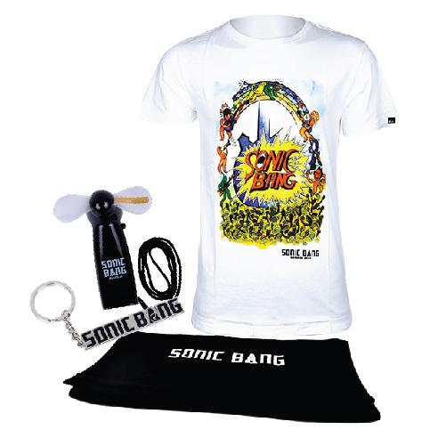 SONIC BANG : White T-Shirt ลายกีต้าร์ + Accessories