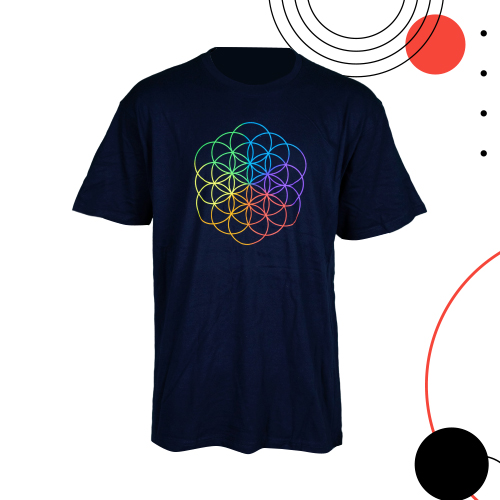 Cold Play T-Shirt (Logo Picture): Size L / Navy Blue Colour